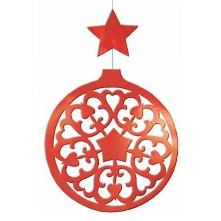Διακοσμητική κρεμαστή Χριστουγεννιάτικη μπάλα Κόκκινη 50x80cm