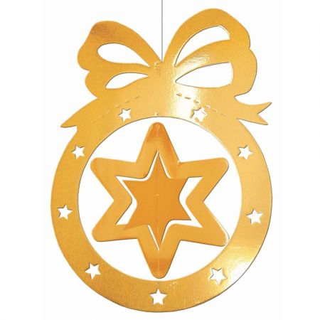 Διακοσμητική κρεμαστή Χριστουγεννιάτικη μπάλα με αστέρι Χρυσή 64x88cm