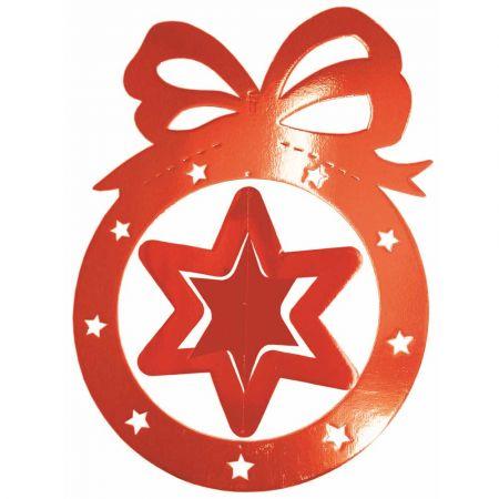 Διακοσμητική κρεμαστή Χριστουγεννιάτικη μπάλα με αστέρι Κόκκινη 64x88cm