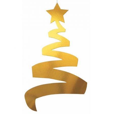 Διακοσμητικό κρεμαστό Χριστουγεννιάτικο δέντρο Χρυσό 70cm