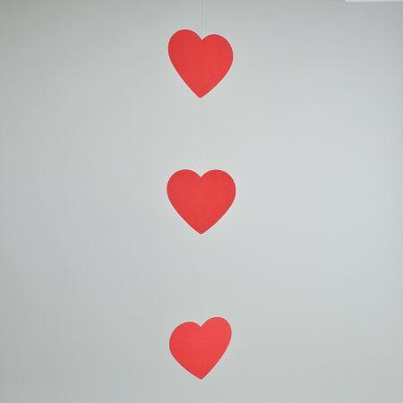 Διακοσμητική γιρλάντα με 3 χάρτινες καρδιές 50x10cm