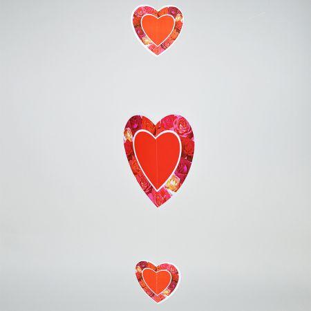Γιρλάντα με 3 χάρτινες καρδιές Κόκκινη 75x30cm