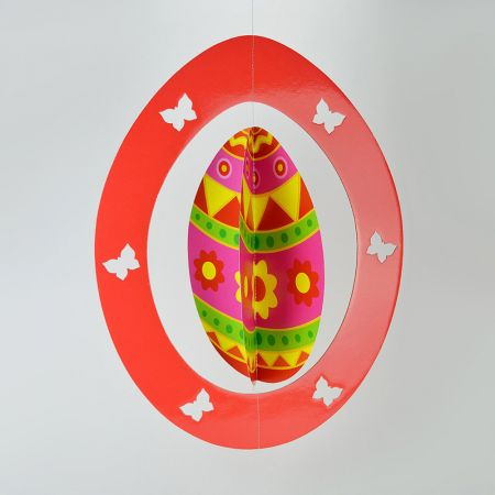 Διακοσμητικό Πασχαλινό κρεμαστό αυγό Κόκκινο 62x48cm
