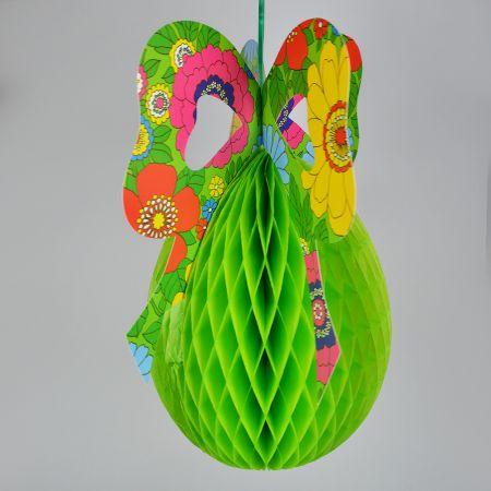 Διακοσμητικό Πασχαλινό αυγό πράσινο με πολύχρωμο φιόγκο 65x51cm