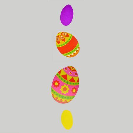 Διακοσμητική γιρλάντα για το Πάσχα με 4 αυγά Πολύχρωμα 135x30cm