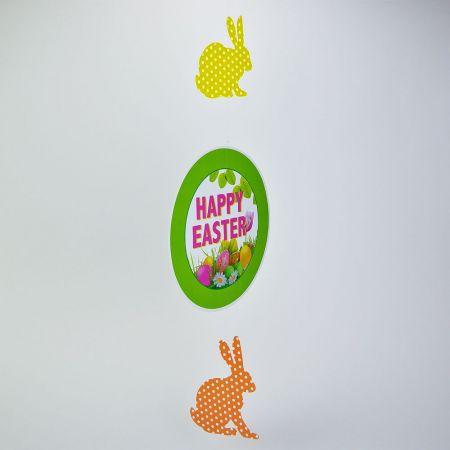 Διακοσμητική γιρλάντα - Happy Easter Πράσινο με 2 πουά λαγούς 75x28cm