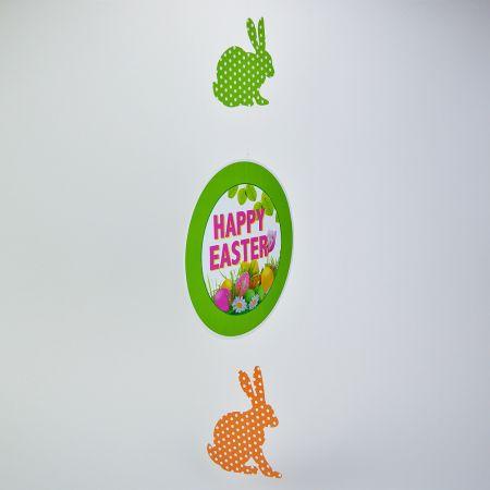 Διακοσμητική γιρλάντα - Happy Easter - με 2 πουά λαγούς 75x28cm