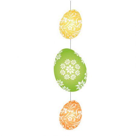 Διακοσμητική γιρλάντα για το Πάσχα με 3 αυγά Πράσινο - Κίτρινο - Πορτοκαλί 75x20cm