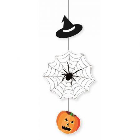 Διακοσμητική Χάρτινη γιρλάντα - Κολοκύθα - Αράχνη - Καπέλο 65x29cm