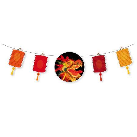 Γιρλάντα-Χάρτινη με Κινέζικα φαναράκια 28x130cm