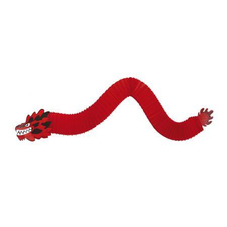 Διακοσμητικός Κινέζικος δράκος χάρτινος Κόκκινο - Μαύρο 180cm