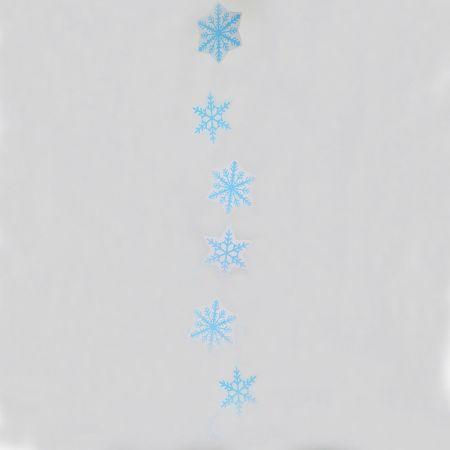 Χριστουγεννιάτικη χάρτινη γιρλάντα με νιφάδες Μπλε 108x15cm