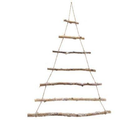 Χριστουγεννιάτικη κρεμαστή χιονισμένη σκάλα-δέντρο, 70x90 cm