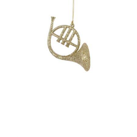 Διακοσμητική τρομπέτα - κόρνο χρυσό με glitter 9x5x7cm