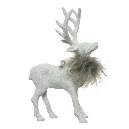 Χριστουγεννιάτικο στολίδι Τάρανδος Λευκός με glitter και γούνα 11x6x10cm