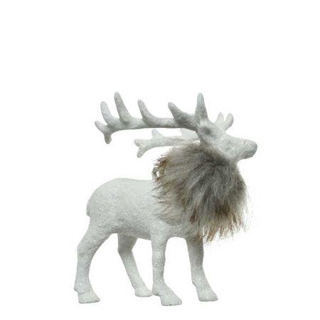 Χριστουγεννιάτικο στολίδι Τάρανδος Λευκός με glitter και γούνα 15x6x11cm
