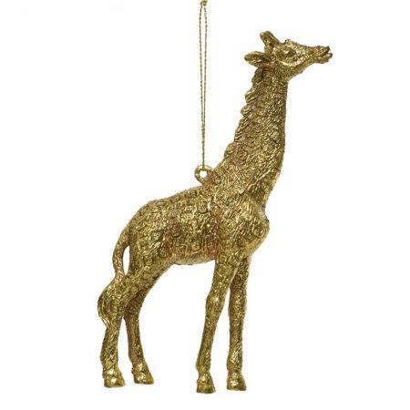 Χριστουγεννιάτικο στολίδι καμηλοπάρδαλη Χρυσή με glitter 12cm