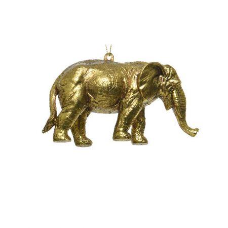 Χριστουγεννιάτικο στολίδι ελέφαντας Χρυσό με glitter 12cm