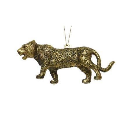 Χριστουγεννιάτικο στολίδι τίγρης Χρυσό με glitter 12cm