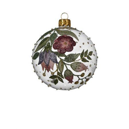 Χριστουγεννιάτικη μπάλα γυάλινη με glitter Διάφανη 8cm