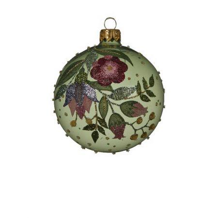 Χριστουγεννιάτικη μπάλα γυάλινη με glitter πράσινη Διάφανη 8cm