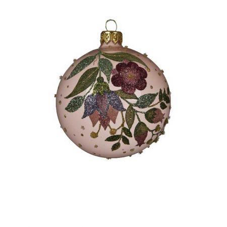 Χριστουγεννιάτικη μπάλα γυάλινη με glitter Ροζ Διάφανη 8cm