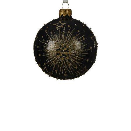 Χριστουγεννιάτικη μπάλα γυάλινη με glitter Μαύρο - Χρυσό 8cm