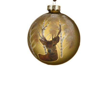 Χριστουγεννιάτικη μπάλα γυάλινη με ελάφι Χάλκινη 8cm