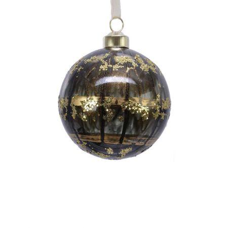 Χριστουγεννιάτικη μπάλα γυάλινη Μαύρη με χρυσό glitter και σχέδια 8cm