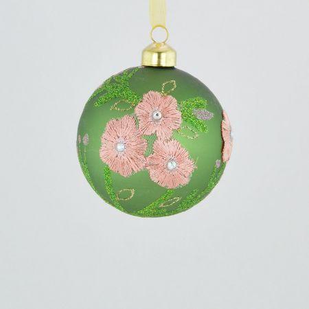 Χριστουγεννιάτικη μπάλα γυάλινη Πράσινη με κέντημα λουλούδι 8cm