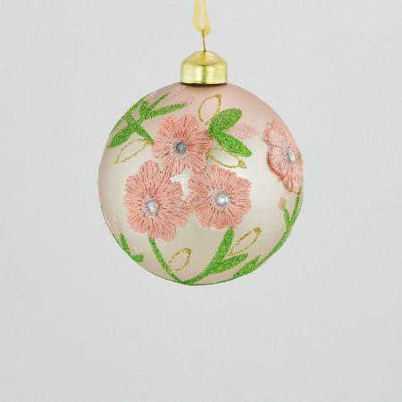 Χριστουγεννιάτικη μπάλα γυάλινη Ροζ με κέντημα λουλούδι 8cm