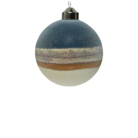 Χριστουγεννιάτικη μπάλα γυάλινη Μπλε - Λευκό 8cm