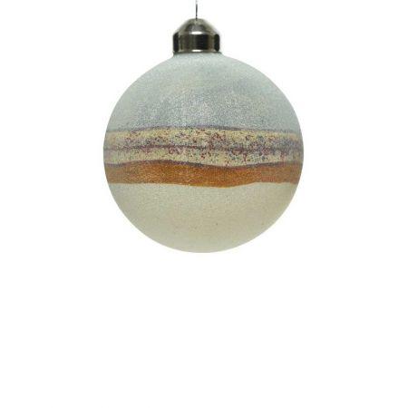 Χριστουγεννιάτικη μπάλα γυάλινη σαγρέ Γαλάζιο - Λευκό 8cm