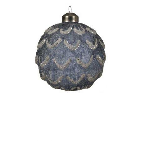 Χριστουγεννιάτικη μπάλα γυάλινη ανάγλυφη Μπλε με glitter 10cm