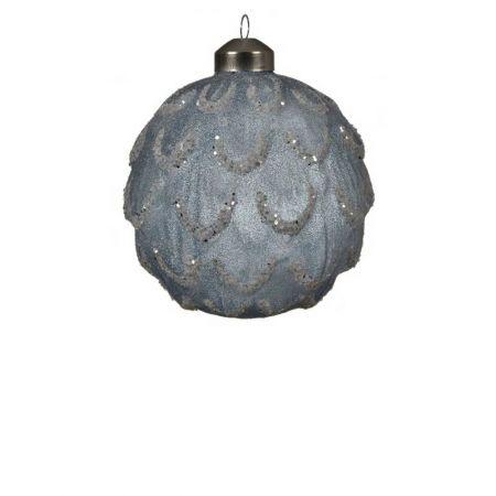 Χριστουγεννιάτικη μπάλα γυάλινη ανάγλυφη Μπλε ανοιχτό με glitter 10cm