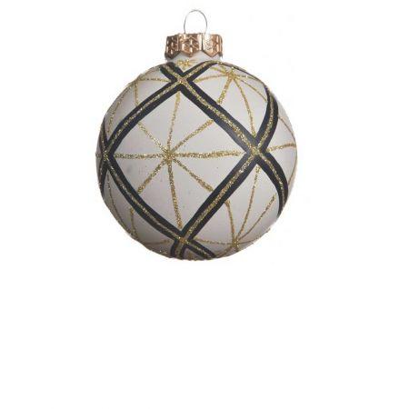 Χριστουγεννιάτικη μπάλα γυάλινη Κρεμ Καρό 8cm