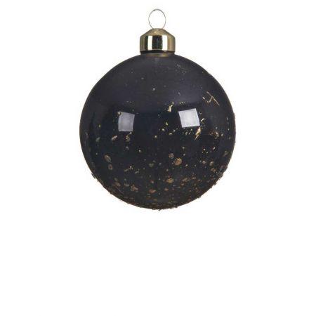 Χριστουγεννιάτικη μπάλα γυάλινη Μαύρη γυαλιστερή με glitter 8cm