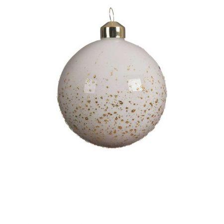 Χριστουγεννιάτικη μπάλα γυάλινη Λευκή γυαλιστερή με glitter 8cm