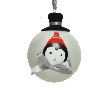 Χριστουγεννιάτικη μπάλα γυάλινη Λευκή με πιγκουίνο και καπέλο 8cm