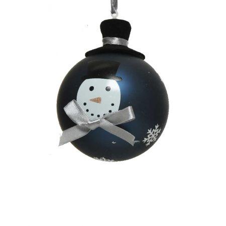 Χριστουγεννιάτικη μπάλα γυάλινη Μαύρη με χιονάνθρωπο και καπέλο 8cm