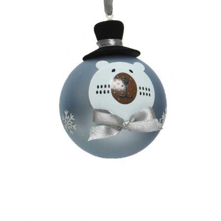 Χριστουγεννιάτικη μπάλα γυάλινη Γαλάζια με αρκούδα και καπέλο 8cm