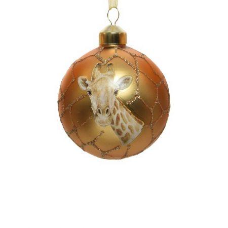 Χριστουγεννιάτικη μπάλα γυάλινη με καμηλοπάρδαλη Χρυσή 8cm