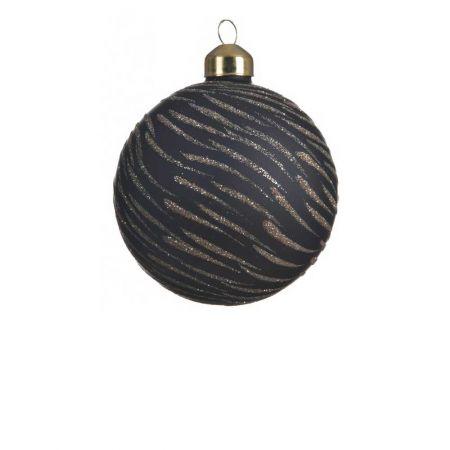 Χριστουγεννιάτικη μπάλα γυάλινη ματ με glitter Μαύρη - Χρυσό 8cm