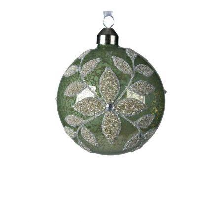Χριστουγεννιάτικη μπάλα γυάλινη Πράσινο με χάντρες 8cm