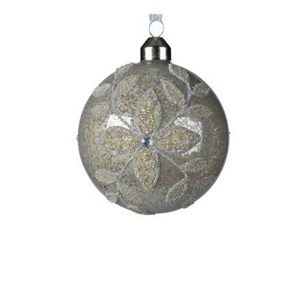 Χριστουγεννιάτικη μπάλα γυάλινη Γκρι με χάντρες 8cm