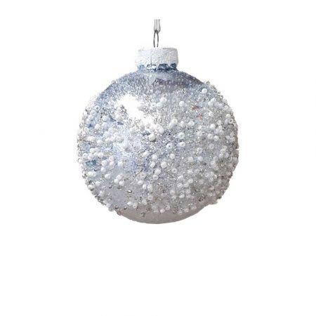 Χριστουγεννιάτικη μπάλα γυάλινη Ασημί με χάντρες 8cm
