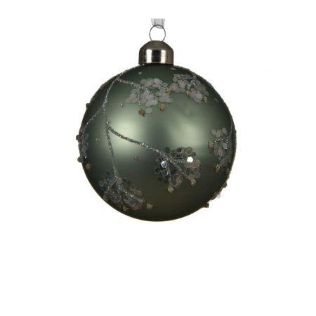Χριστουγεννιάτικη μπάλα γυάλινη Πράσινο ματ με παγιέτες 8cm