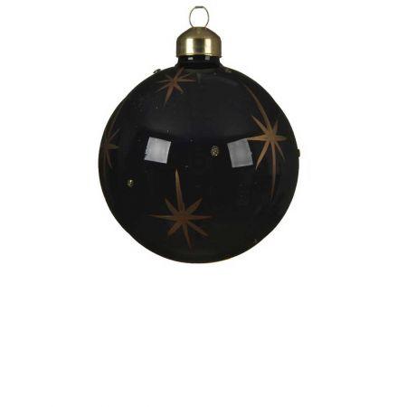 Χριστουγεννιάτικη μπάλα γυάλινη γυαλιστερή Μαύρη με Χρυσά αστερία 8cm
