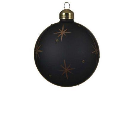 Χριστουγεννιάτικη μπάλα γυάλινη ματ Μαύρη με Χρυσά αστερία 8cm