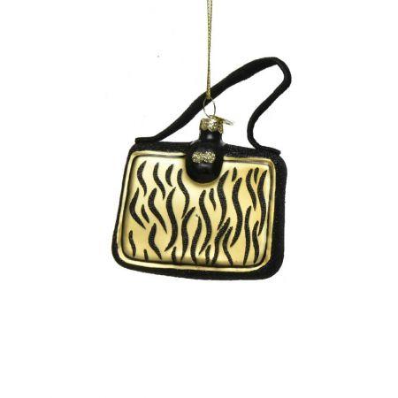 Γυάλινο στολίδι - τσάντα με Animal Print (Σχέδιο 01) 8cm